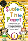 Year 1 Subject Title Pages –Free – Animals