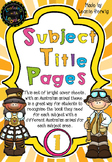 Year 1 Subject Title Pages –Free – Australian Animals