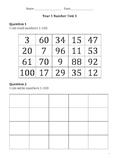 Year 1  Test 1 Australian Curriculum Linked Mathematics As