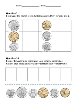Year 1 Test 2 Number & Algebra Australian Curriculum Linked Assessment