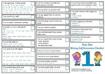 Year 1 (UK) Writing Self-Assessment Checklist