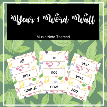 Year 1 Word wall with 102 words!! Music themed background
