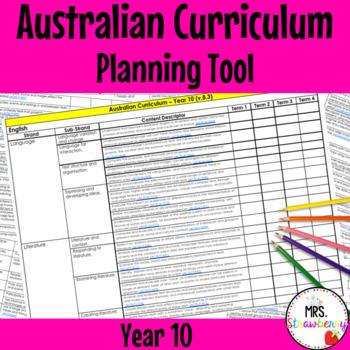Year 10 Australian Curriculum Planning Tool