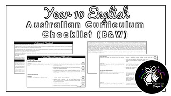 Year 10 English (Black & White) | Australian Curriculum Checklist