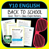Year 10 English Back to School Pack - Class Expectations, Quiz & Diagnostic Test