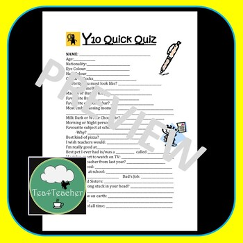 Year 10 English Back to School PACK Class Expectations, Quiz & Diagnostic Test