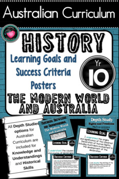 Year 10 History – (Australia) Learning GOALS & Success Criteria Posters