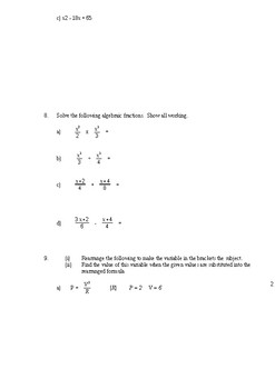 Year 10 Mathematics test: Algebra