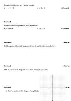 Year 10 Mathematics test: linear and simultaneous equations