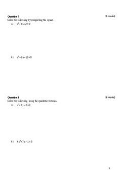 Year 10 test quadratics