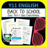 Year 11 English Back to School Pack - Class Expectations, Quiz & Diagnostic Test