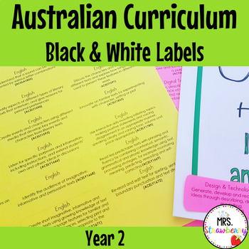 Year 2 Australian Curriculum Learning Outcome Labels/ Tags – Black & White