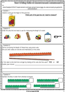 Year 2 Australian Curriculum Maths Assessment Measurement and Geometry