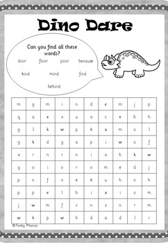 Year 2 Common Exception Words - Word Searches and Jumbles (Dino Disorder)