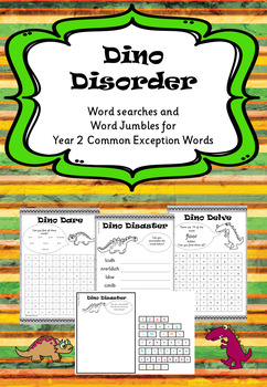 Year 2 Common Exception Words - Word Searches and Jumbles