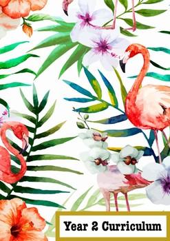 Year 2 Curriculum Book Cover Tropical  Flamingo Theme