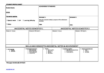 Year 2 ENGLISH CHECKLIST & STUDENT PROFILE SHEET Australian Curriculum A3 Size