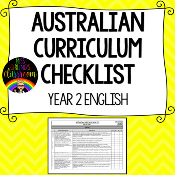 Year 2 English - Australian Curriculum Checklist