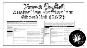 Year 2 English (Black & White) | Australian Curriculum Checklist