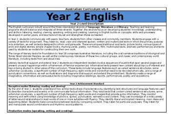 Year 2 English Overview - Australian Curriculum v8.3