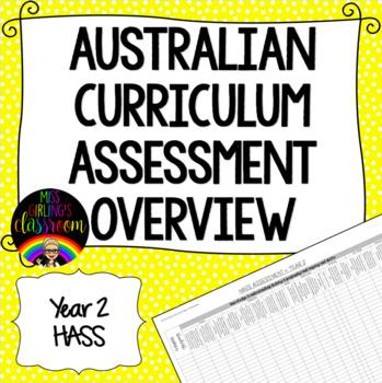 Year 2 HASS Australian Curriculum Assessment Overview