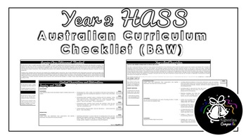Year 2 HASS (Black & White) | Australian Curriculum Checklist