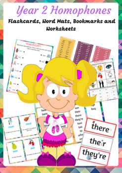 Year 2 Homophones flashcards, wordmat, bookmarks and worksheets