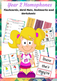 Year 2 Homophones flashcards, wordmat, bookmarks and worksheets