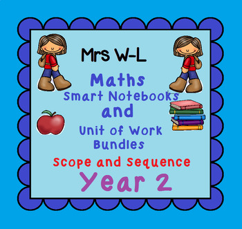 Year 2 Maths SCOPE AND SEQUENCE for Smart Notebook & Unit of Work Bundles