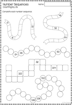 Australian Curriculum Number Sequences Worksheets and Task Cards Year 2