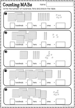 Place Value Numbers to 1,000 Worksheets and Task Cards
