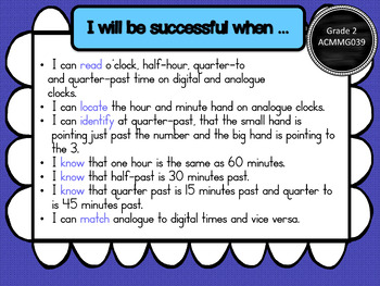 Year 2 – Measurement & Geometry Learning INTENTIONS & Success Criteria Posters