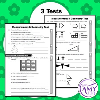 Year 2 Measurement & Geometry Maths Test Pack- Australian Curriculum