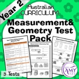 Year 2 Measurement & Geometry Maths Test Pack- Australian Curriculum