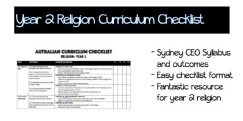 Year 2 Religion Curriculum Booklet- Sydney CEO #BETTERTHANCHOCOLATE