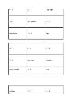 Year 2 Simple Maths Bingo