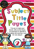 Year 2 Subject Title Pages –Free – Animals