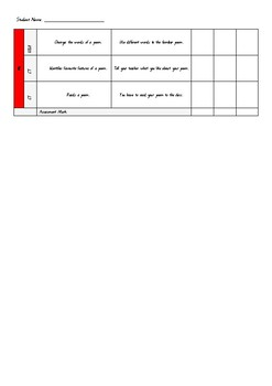 Year 2 Unit 1 Poetry C2C Assessment Checklist