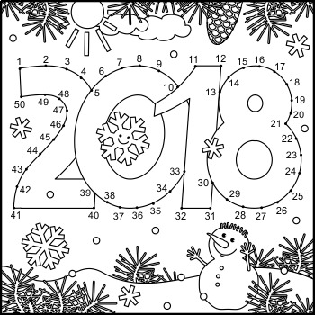 Year 2018 Connect the Dots and Coloring Page, CU