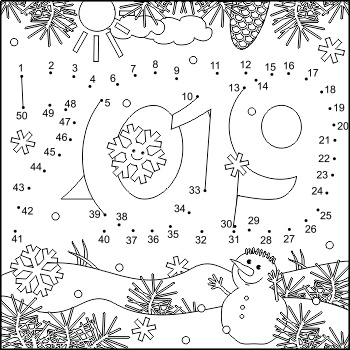 Year 2019 Connect the Dots and Coloring Page, Non-CU