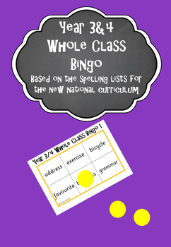 Year 3&4 Whole Class Bingo - based on the spelling lists f