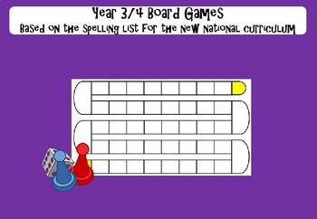 Year 3&4 Board Games - based on the spelling lists for the new NC