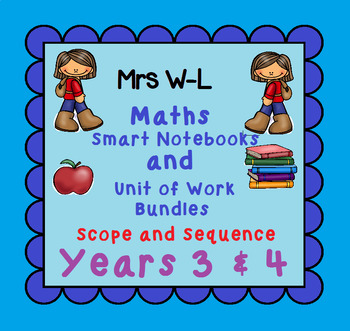 Year 3 & 4 Maths SCOPE AND SEQUENCE for Smart Notebook & Unit of Work Bundles