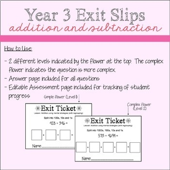 Year 3 Addition and Subtraction Exit Slips