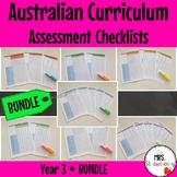Year 3 Australian Curriculum Assessment Checklists BUNDLE