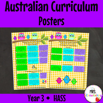 Year 3 Australian Curriculum Posters – Humanities and Soci