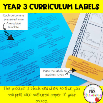 Year 3 Australian Curriculum Learning Outcome Labels/ Tags – Black & White