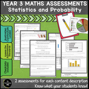 Year 3 Australian Curriculum Maths Assessment BUNDLE OF ALL STRANDS