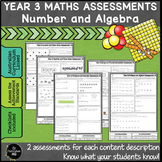 Year 3 Australian Curriculum Maths Assessment Number and Algebra Bundle