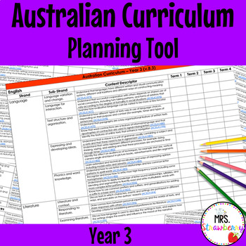 Year 3 Australian Curriculum Planning Tool